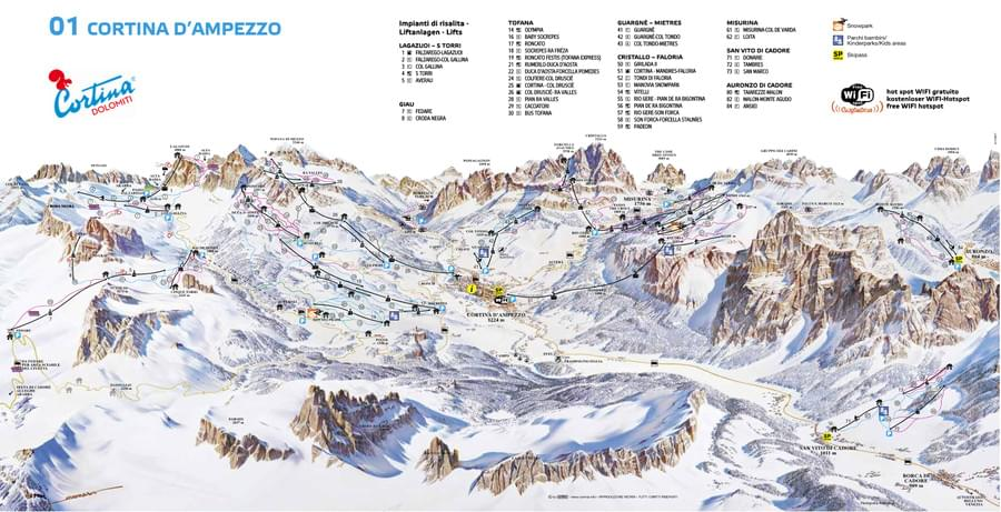 Map Of Cortina d'Ampezzo Ski Resorts