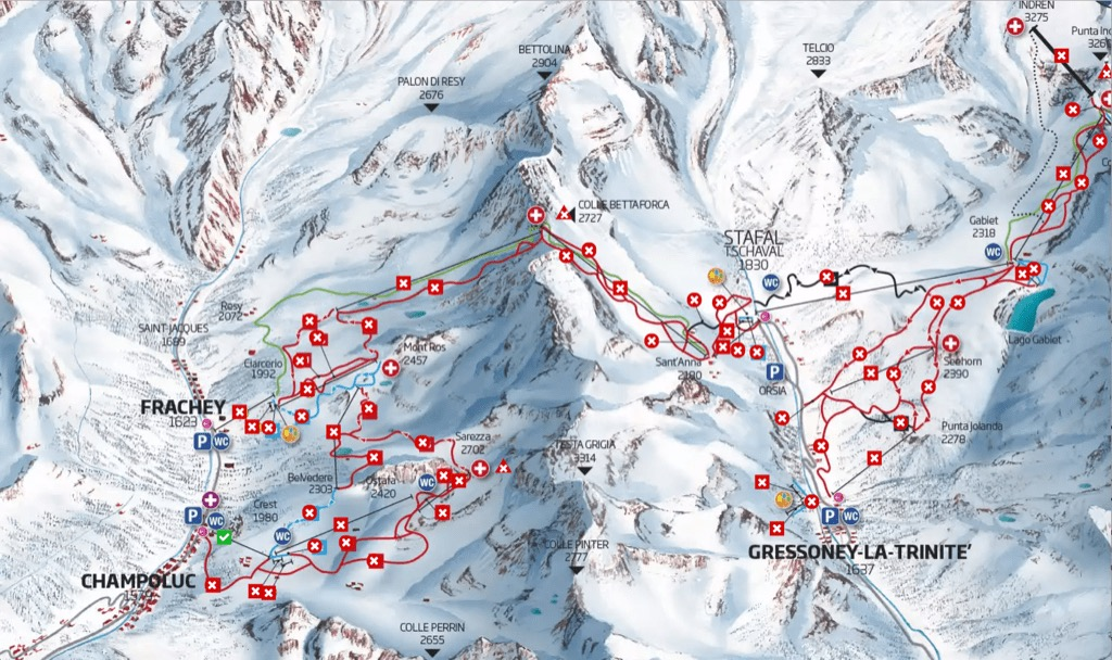 Map of Frachey pistes