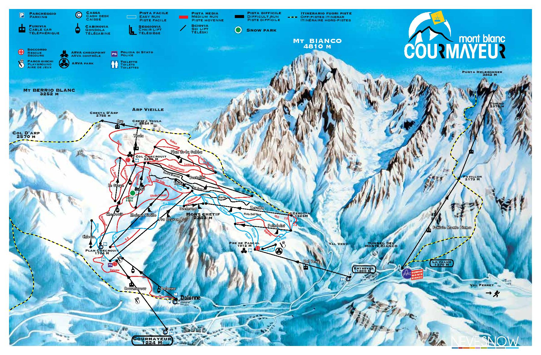 Pistes Map of Courmayeur