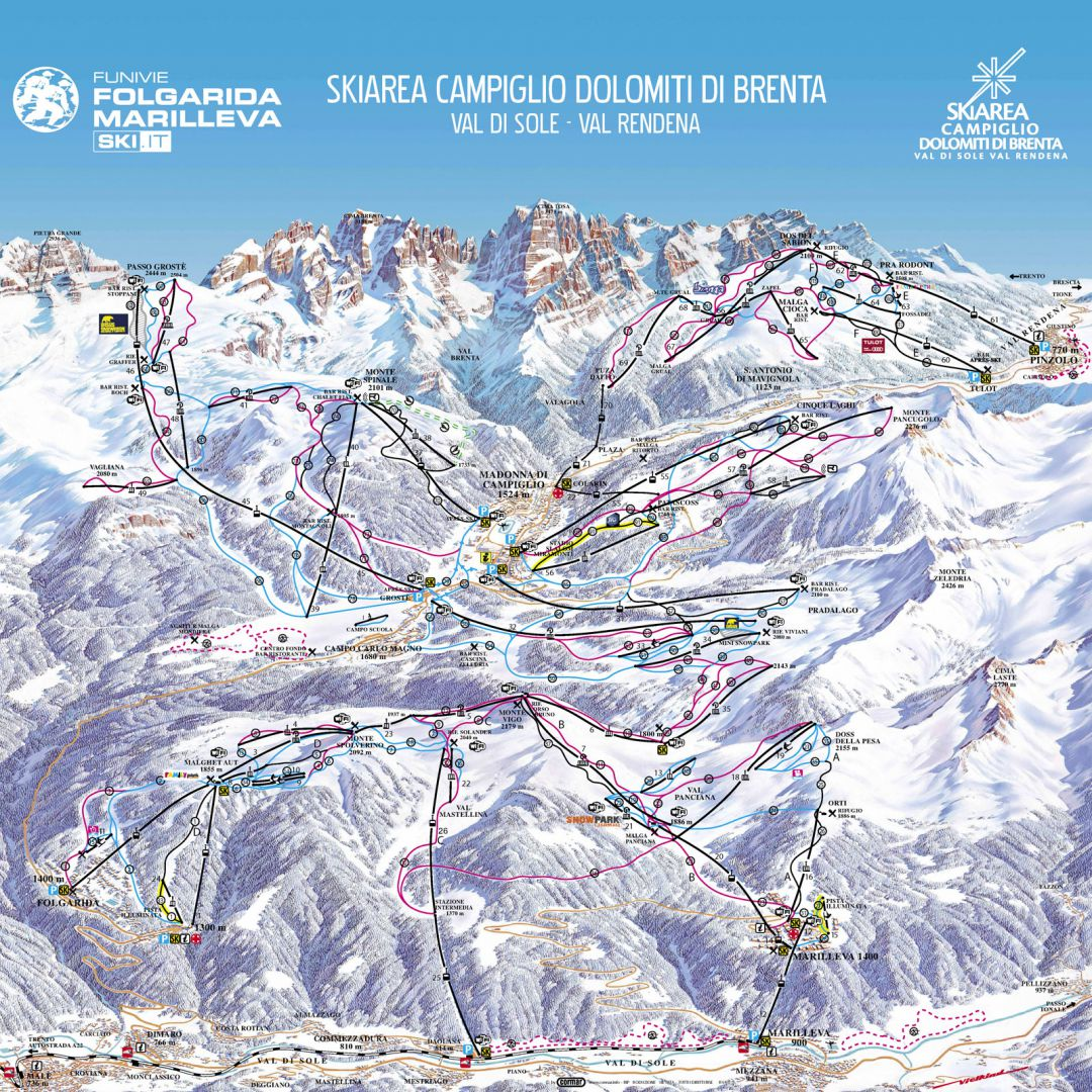 Pistes Map Of Folgarida-Marilleva
