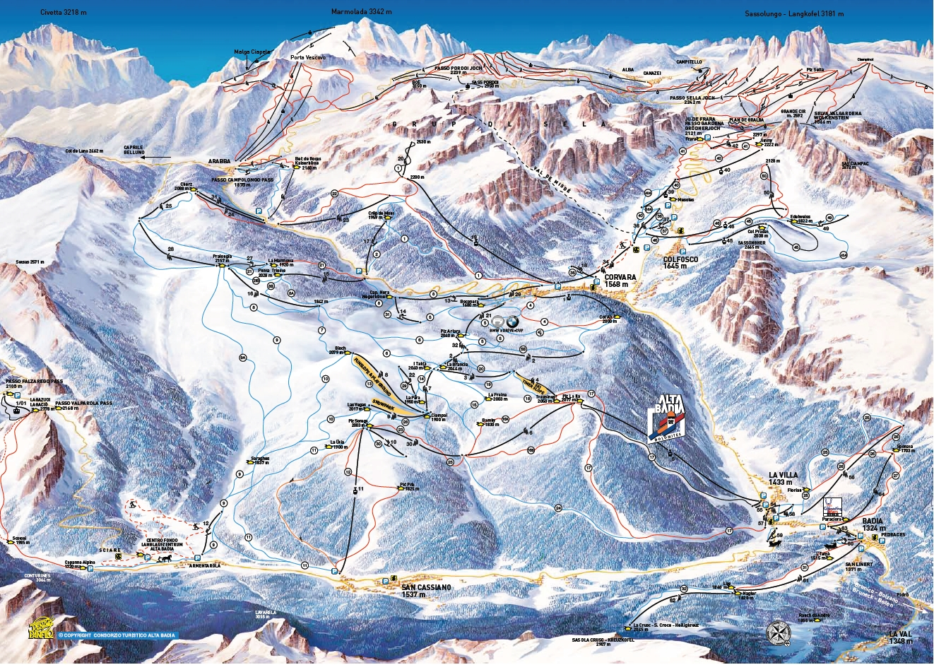 Map of La Villa / Stern pistes