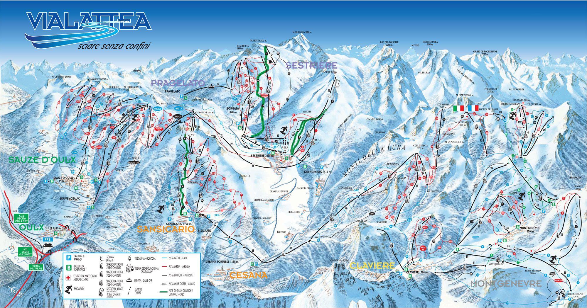 Sauze d'Oulx Piste Map