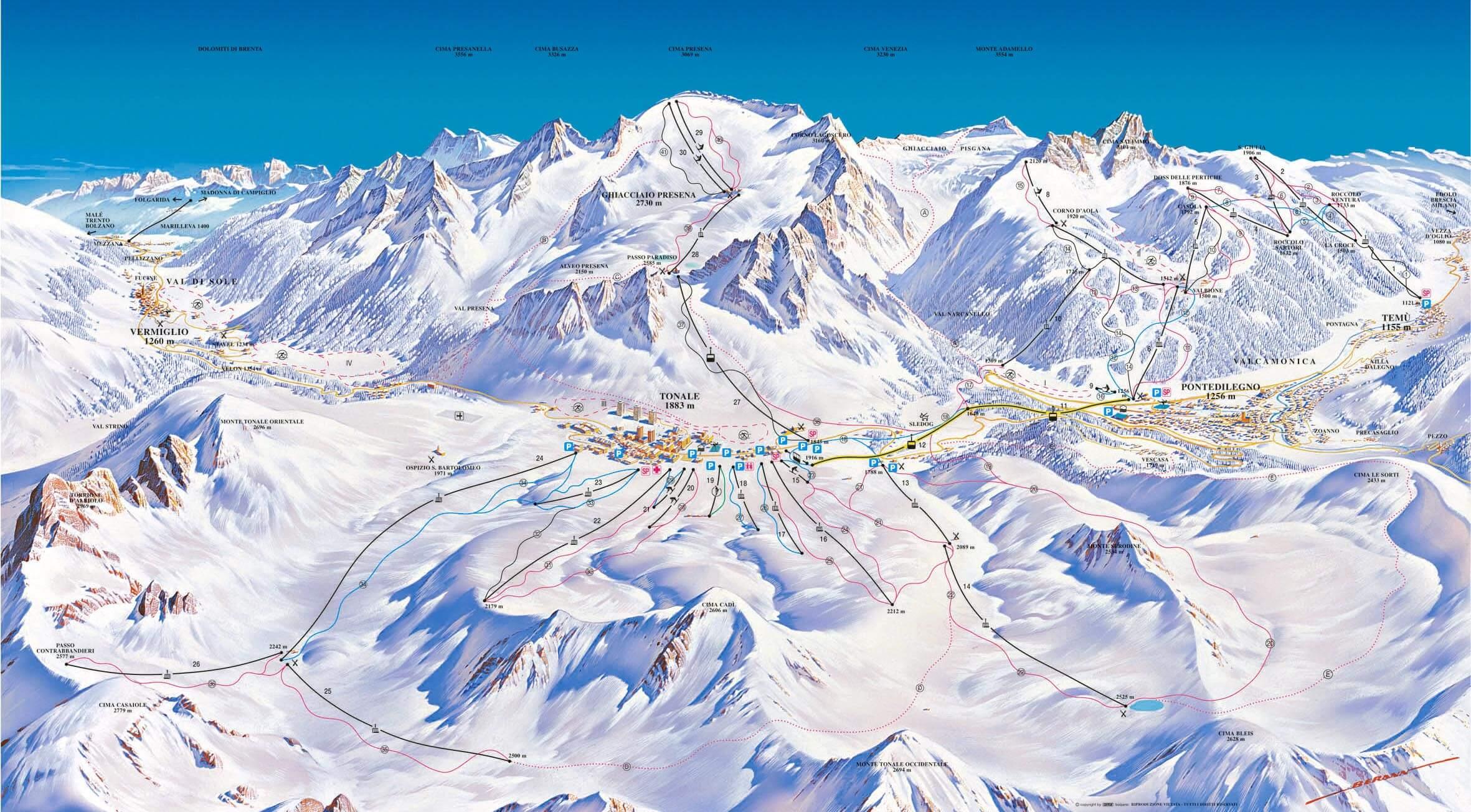 Pistes Map of Passo Tonale
