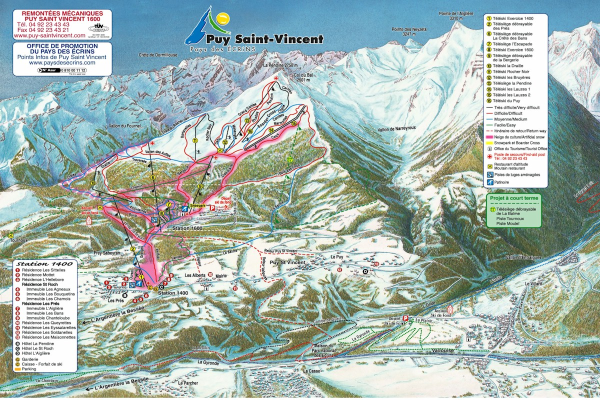 Puy Saint-Vincent Piste Map