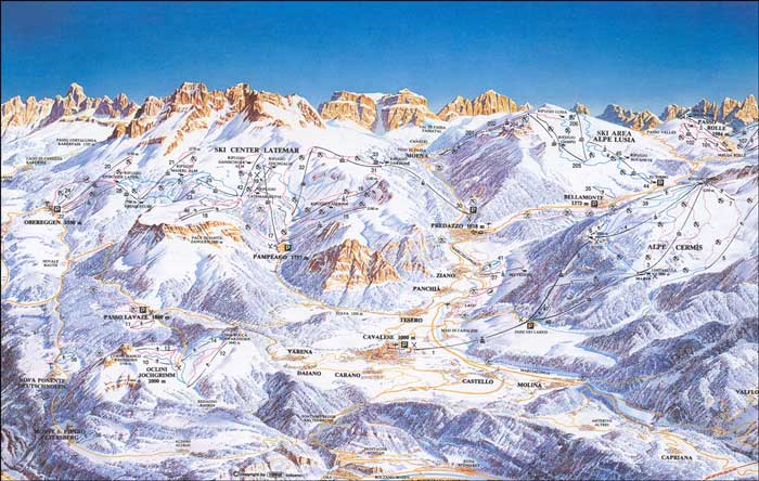 Pistes Map Of Alpe Cermis-Cavalese