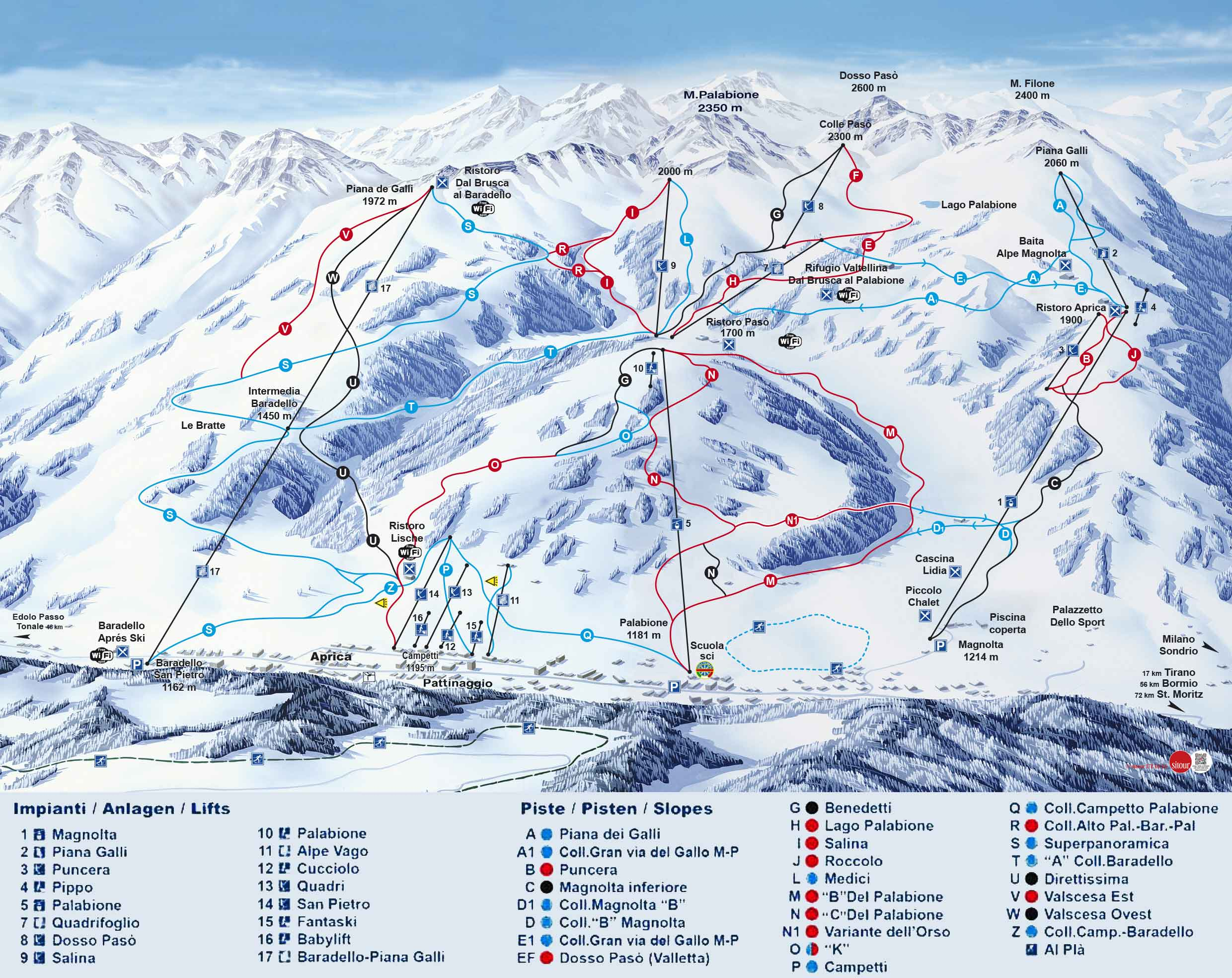 Pistes Map of Aprica