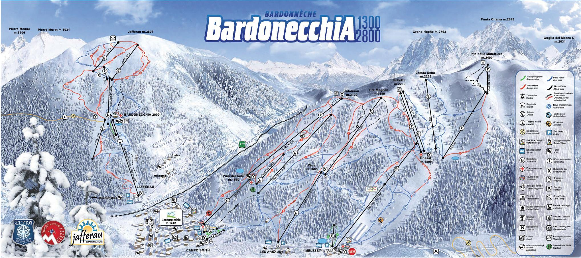 Pistes Map Of Bardonecchia