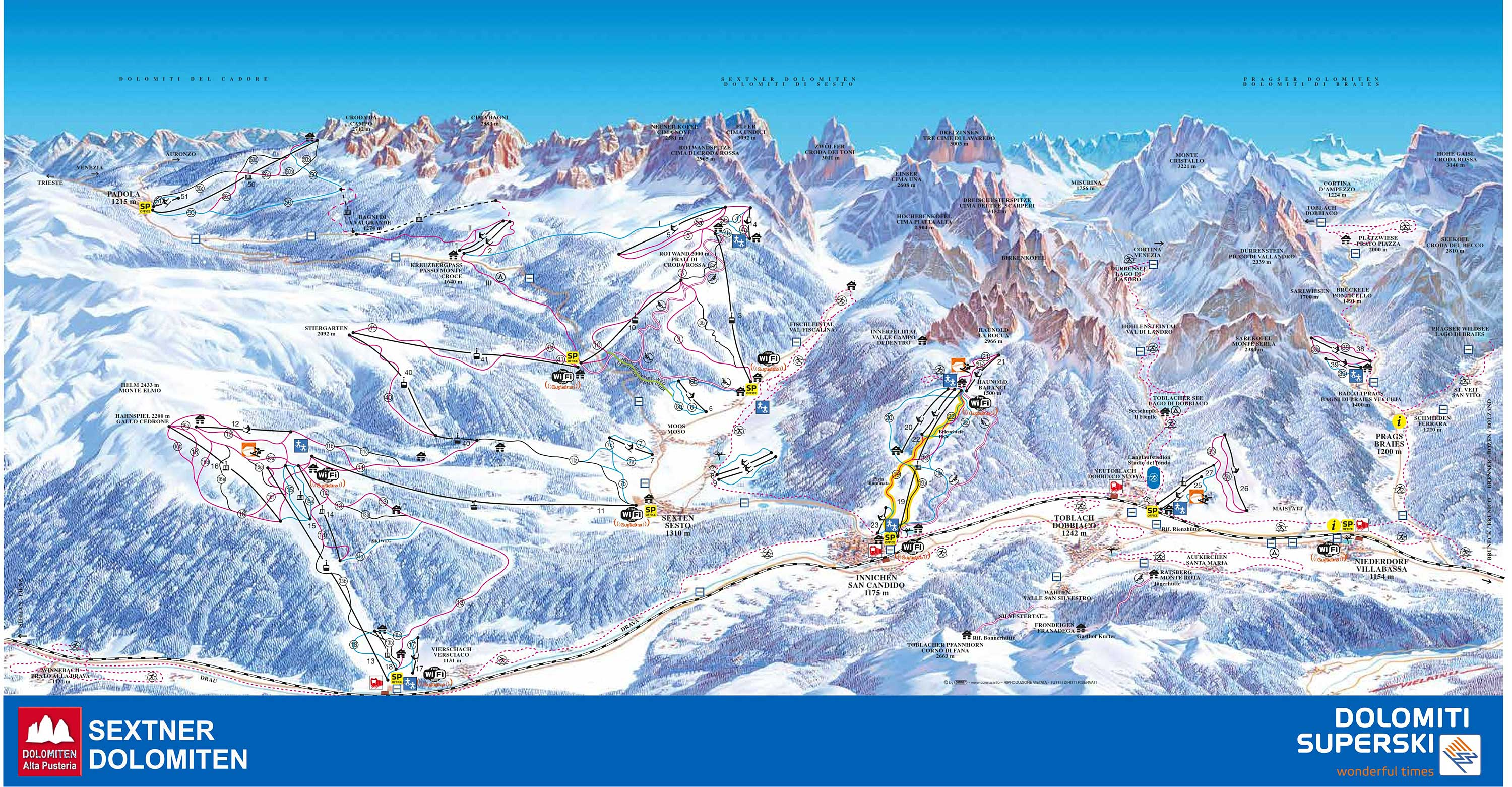 Pistes Map of Dobbiaco