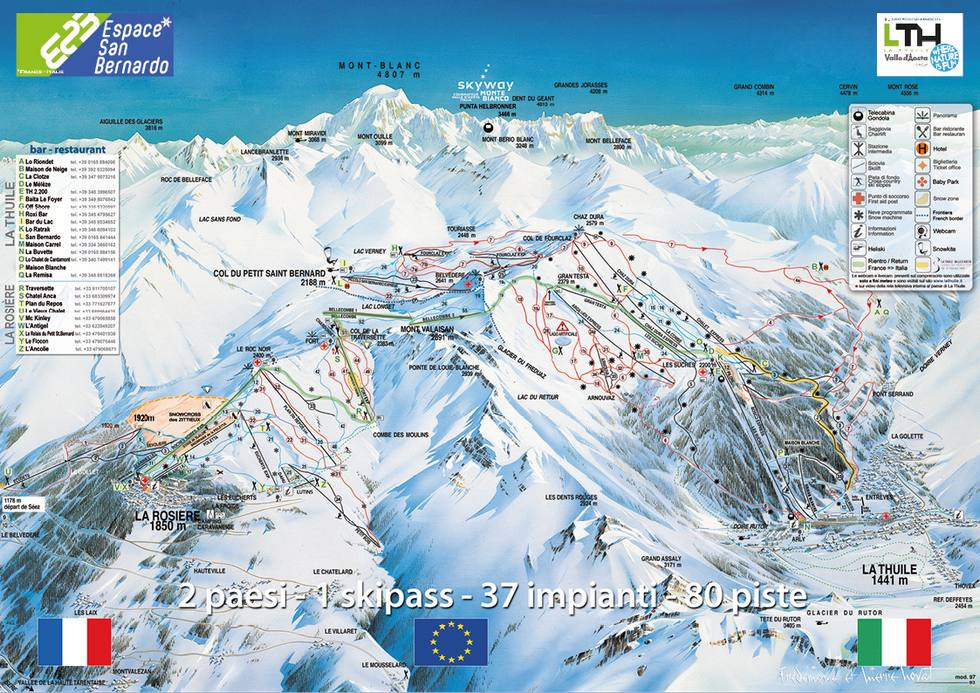 Map Of La Thuile / La Rosiere