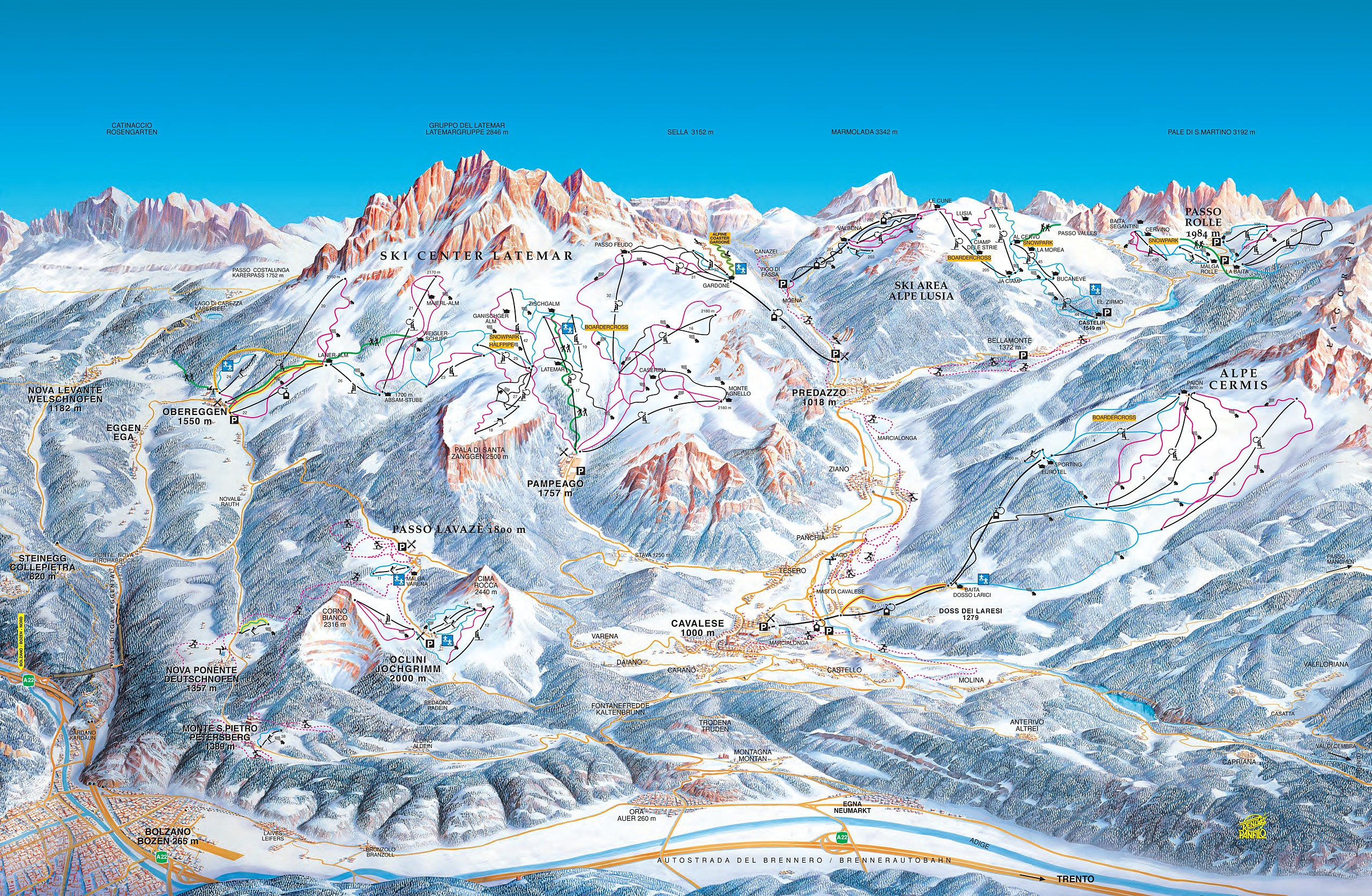 Map Of Ski Center Latemar - Obereggen