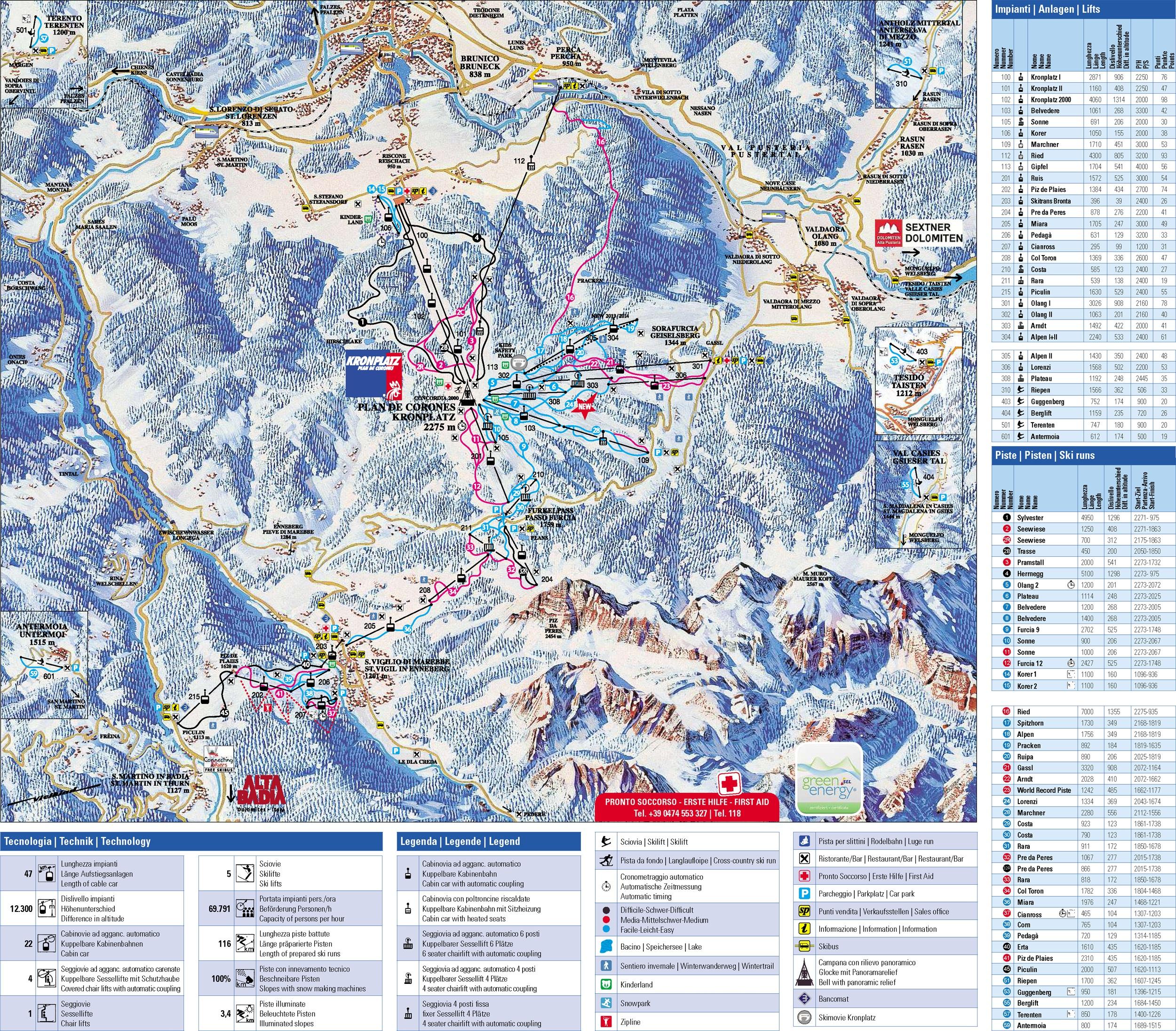 Pistes Map of San Vigilio di Marebbe