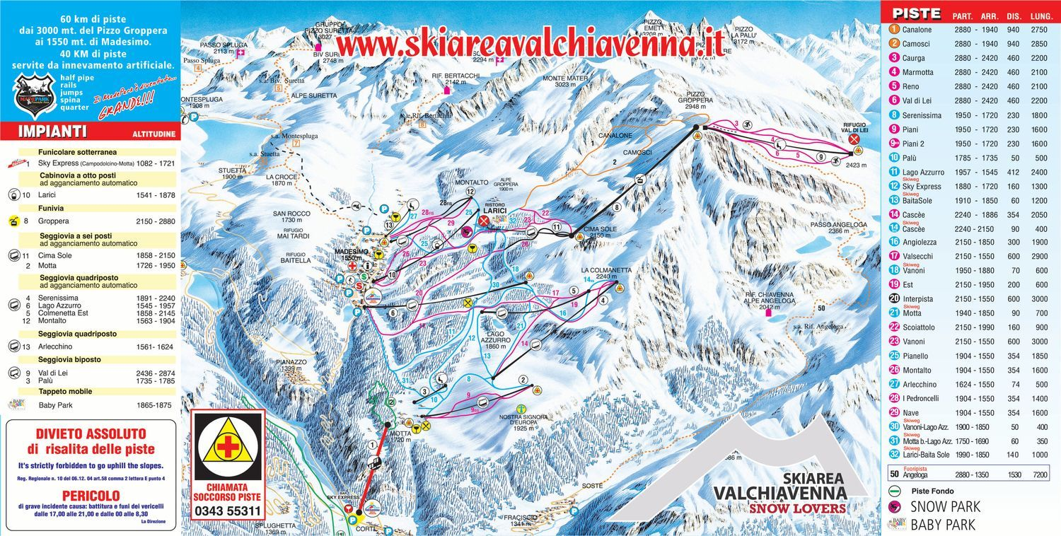 Pistes Map of Valchiavenna