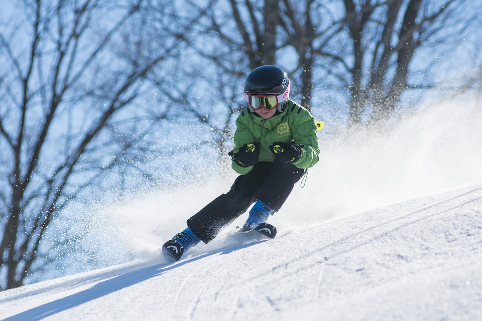 Child skiing at Alpine ski resort