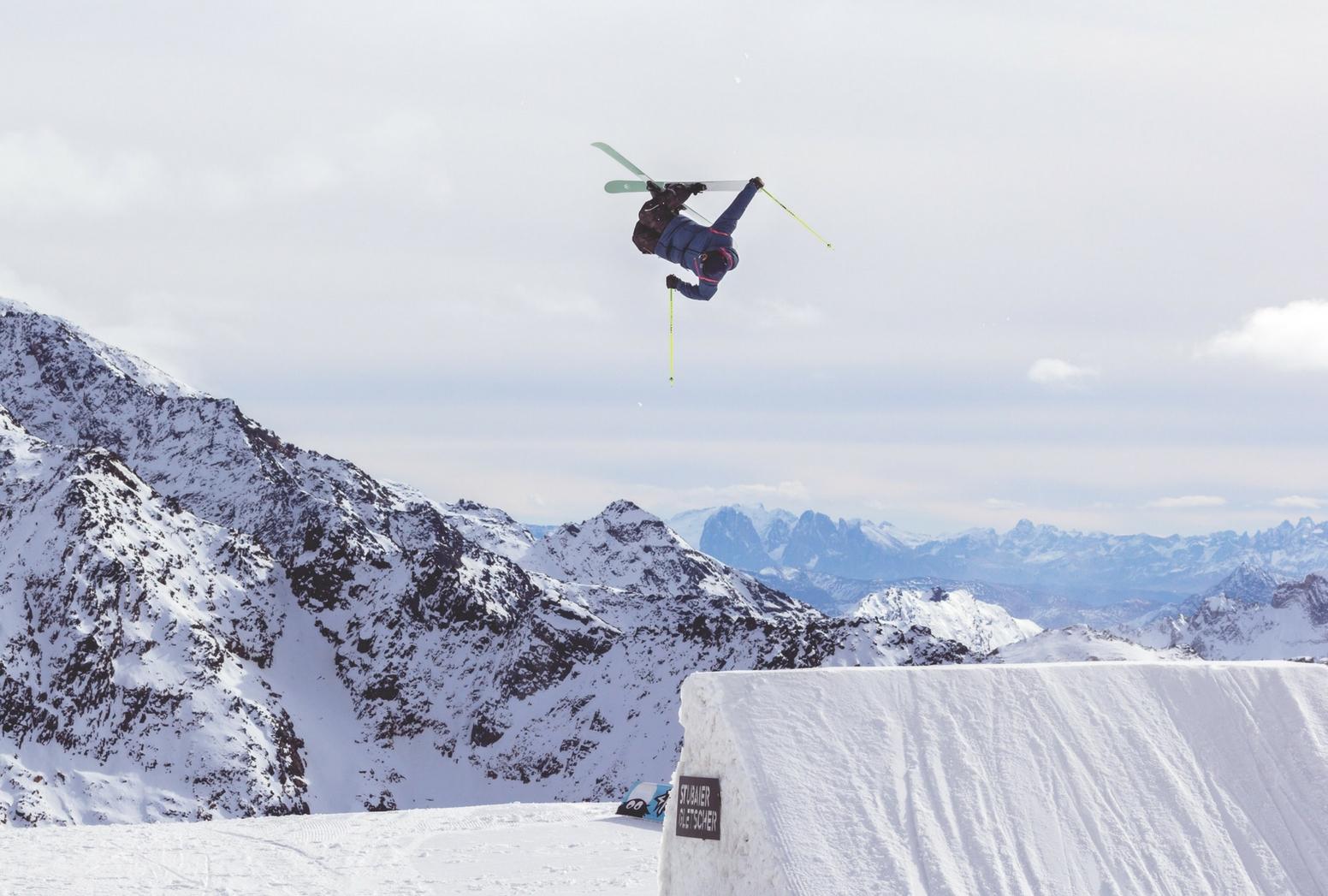 skier doing a backflip