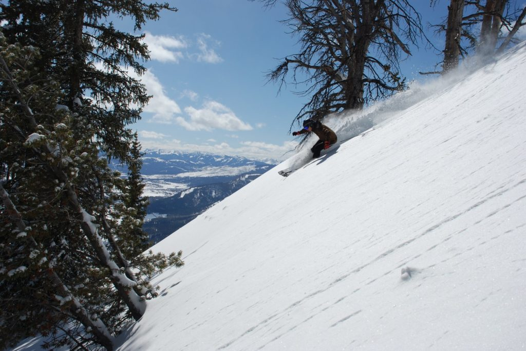 Skier on a black run