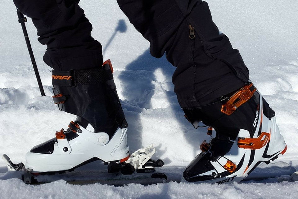 ski boots in the snow