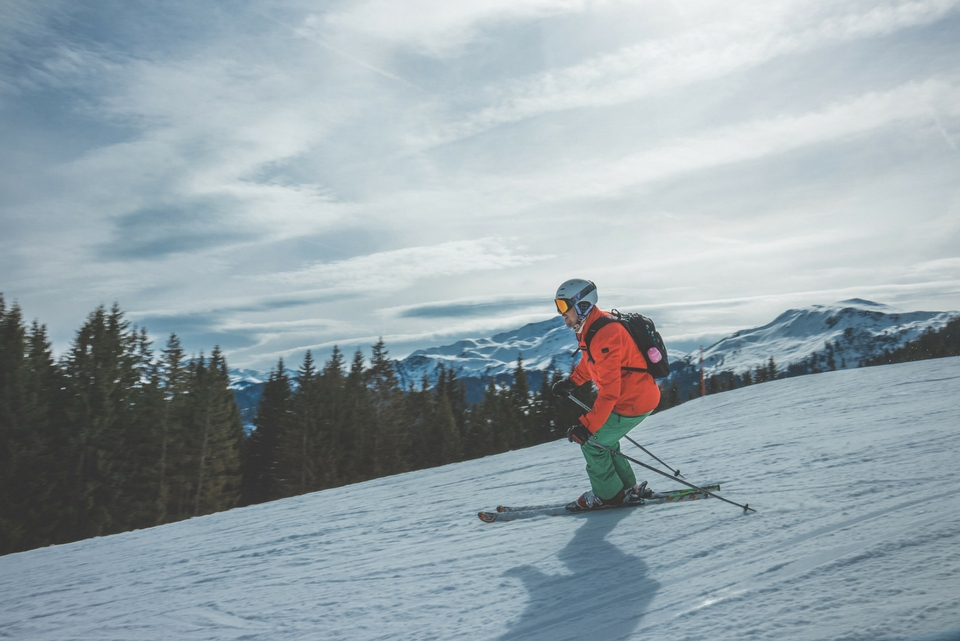 skier on blue run