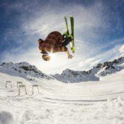 skier on jump at resort