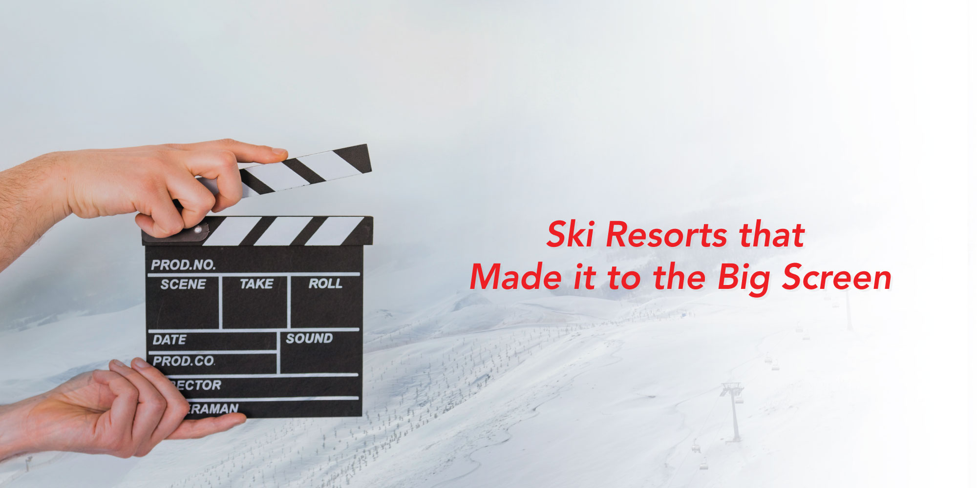 Clapperboard in front of white snowy mountain