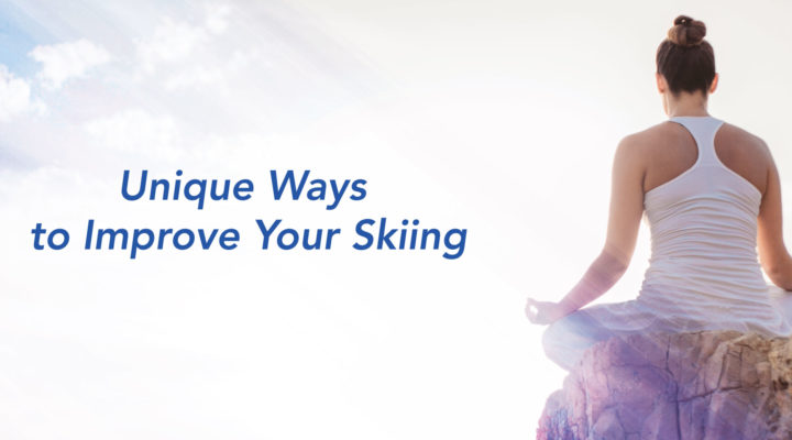 Woman trying to improve her skiing performance by practising yoga