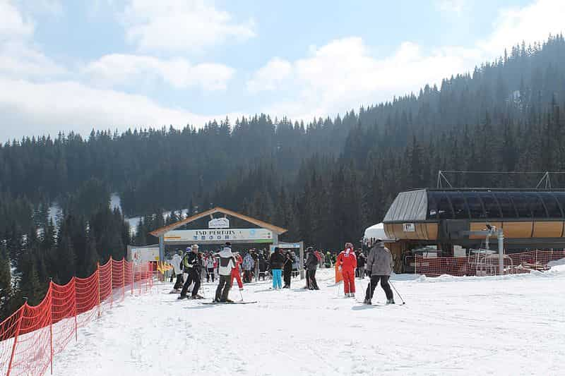 Skiers at the end of a race