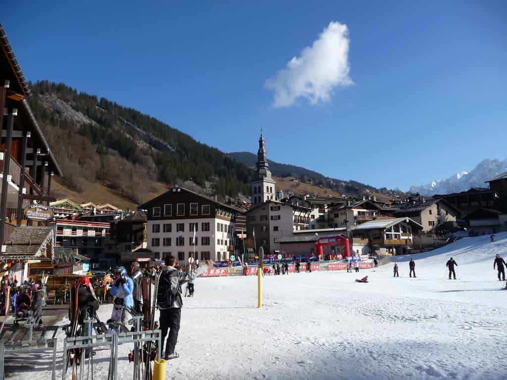 Skiers at a resort town