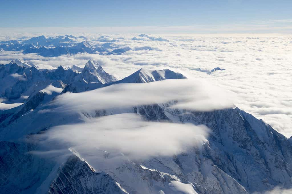 An aerial view of Mont Blanc