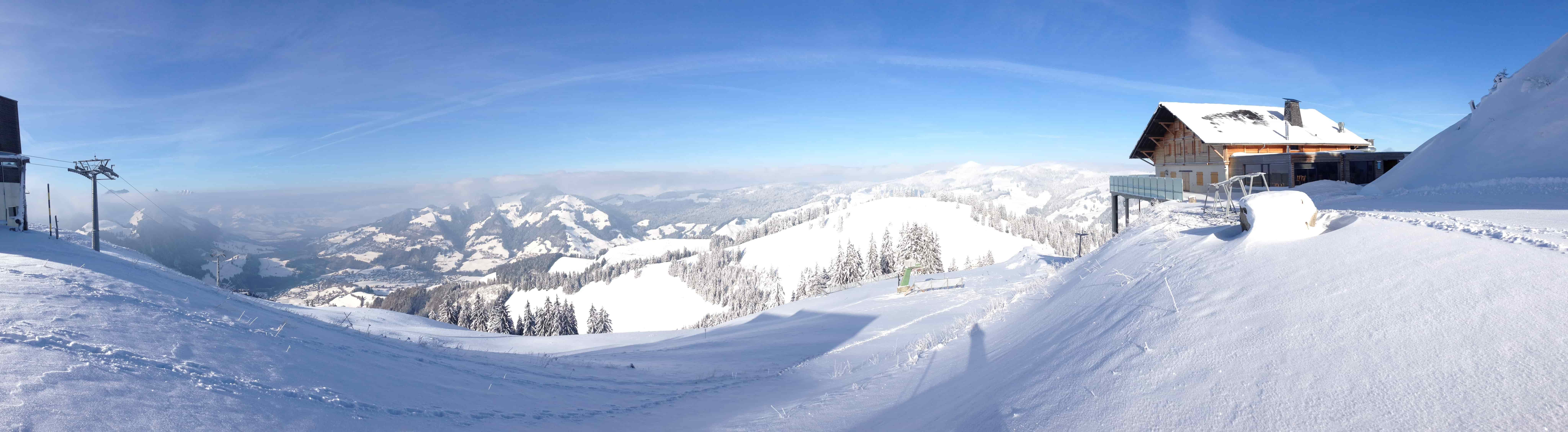 A view of a snowy ski resort