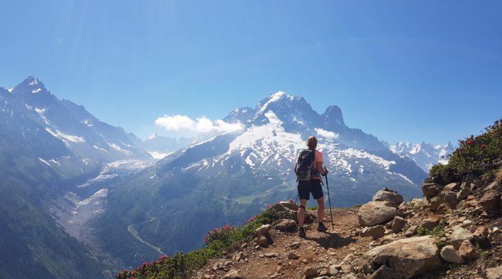 Jennifer hiking the Tour du Mont Blanc