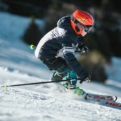 A child skiing down the mountain