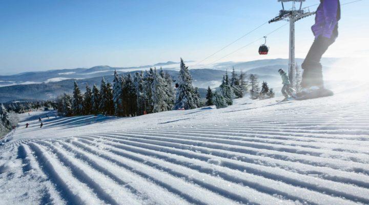 Alpine ski resort in spring