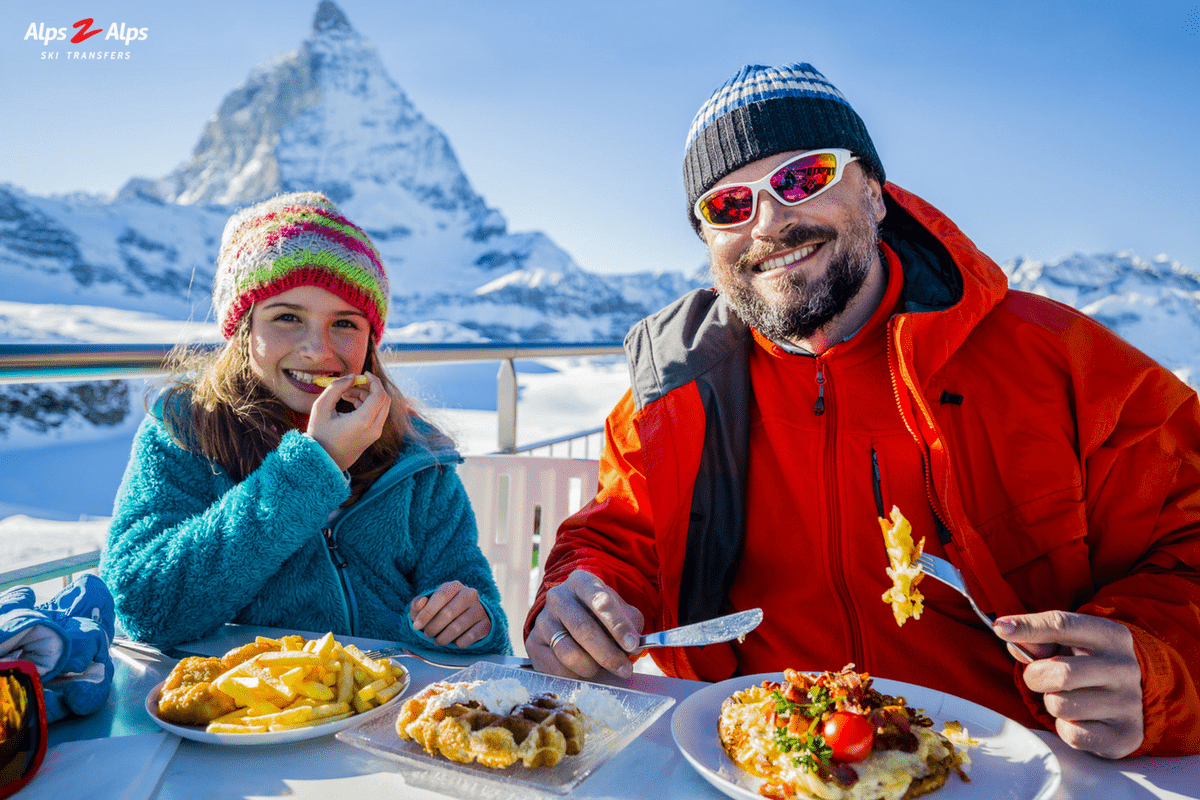 Family lunch in the Alps