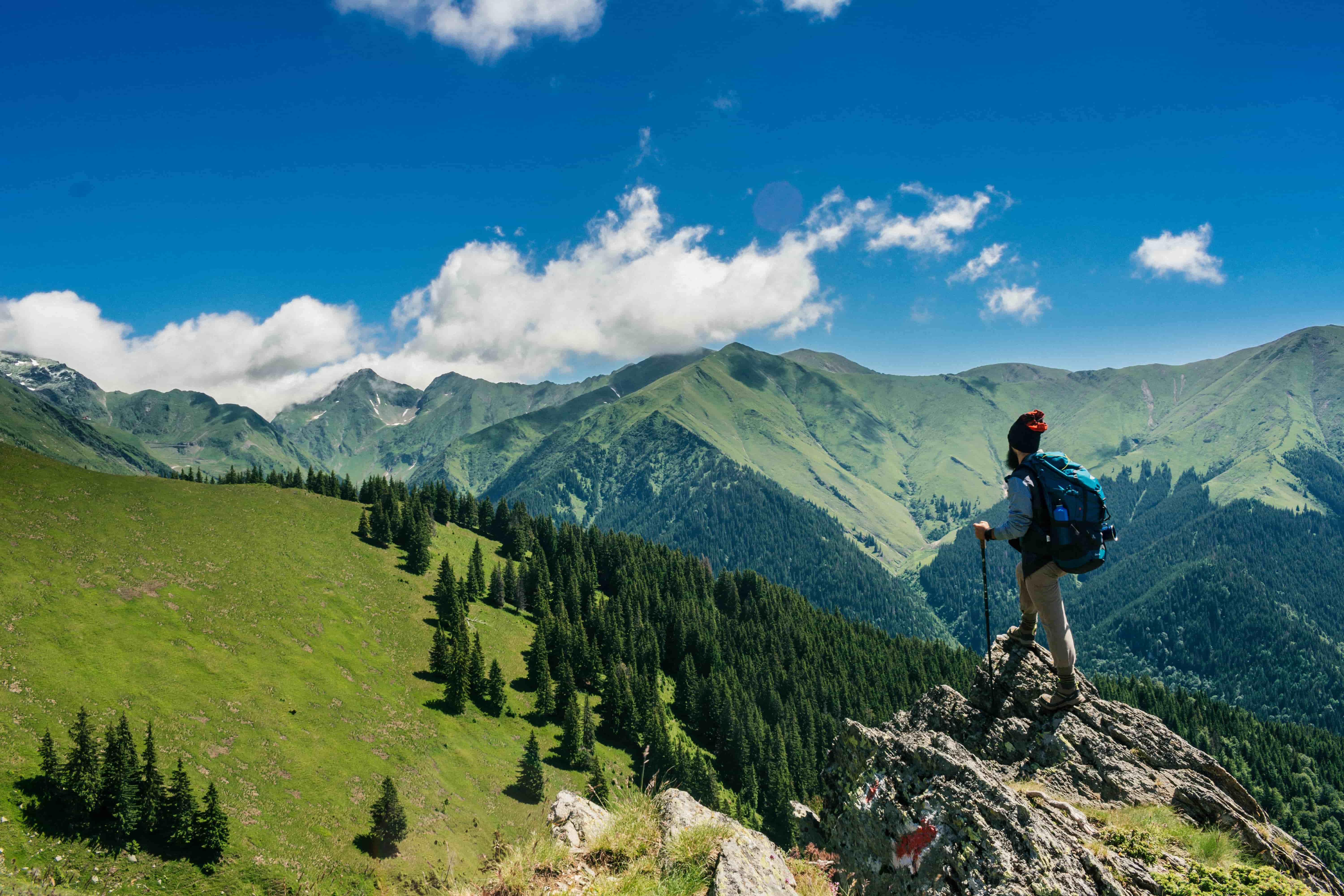 Hiker standing on a peak in the alps