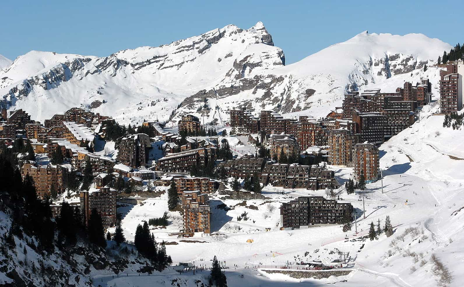 A view of the Avoriaz ski resort accommodation from above