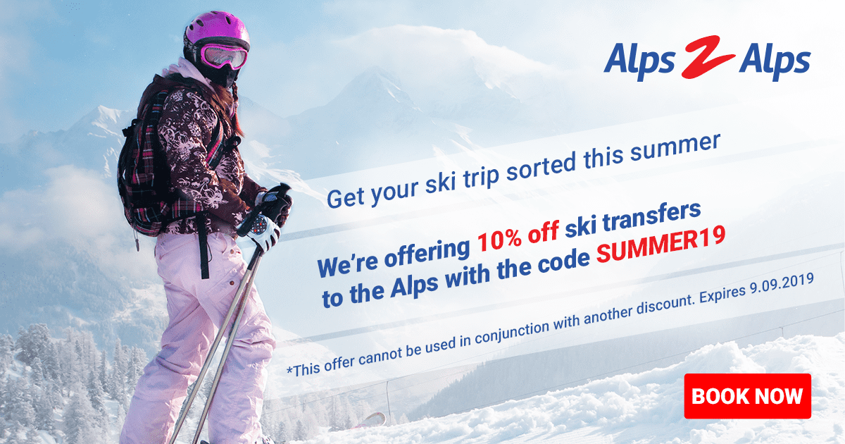 Female skier with summer offer text