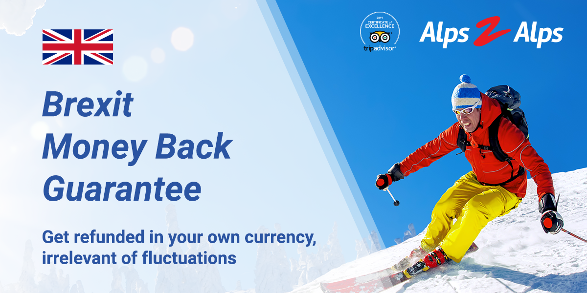 Skier with banner text on the Alps2Alps Brexit guarantee