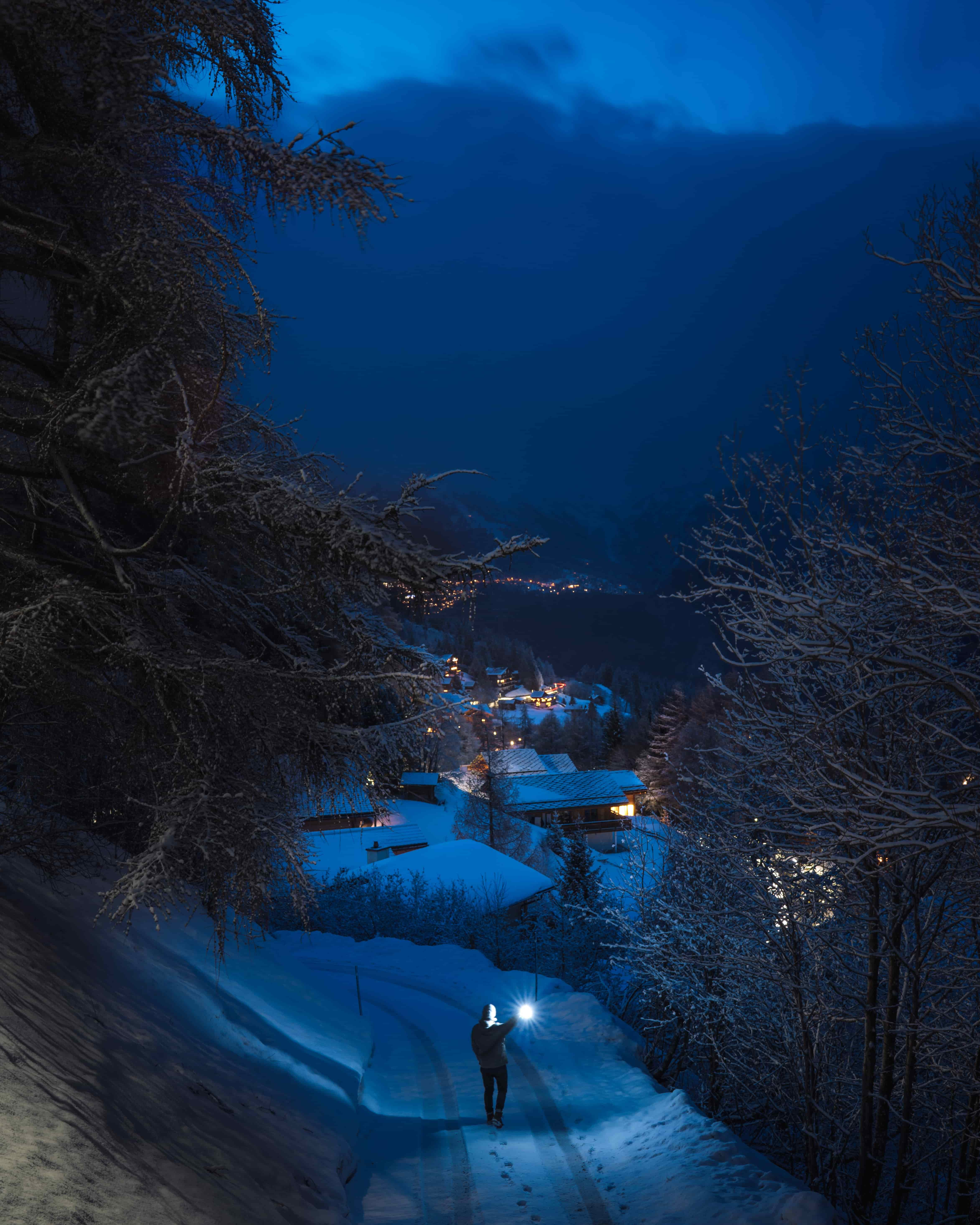 Image of ski resort under the snow at Christmas