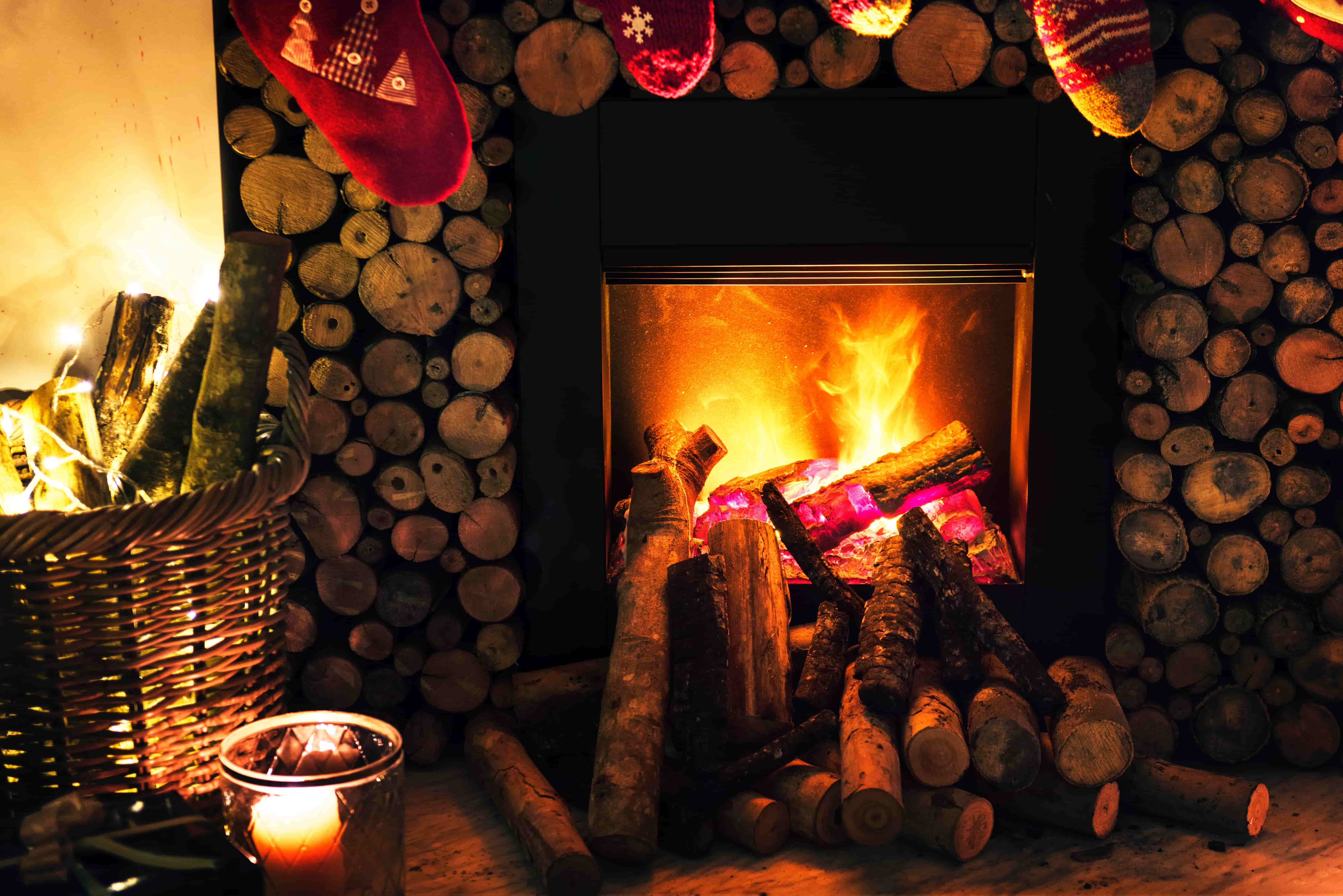 Fireplace at Christmas in a chalet