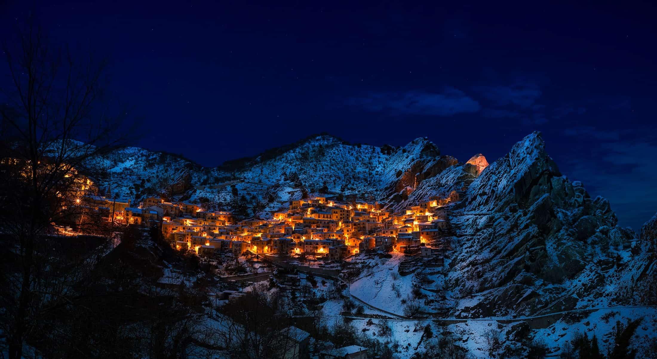 Alpine ski resort in the snow