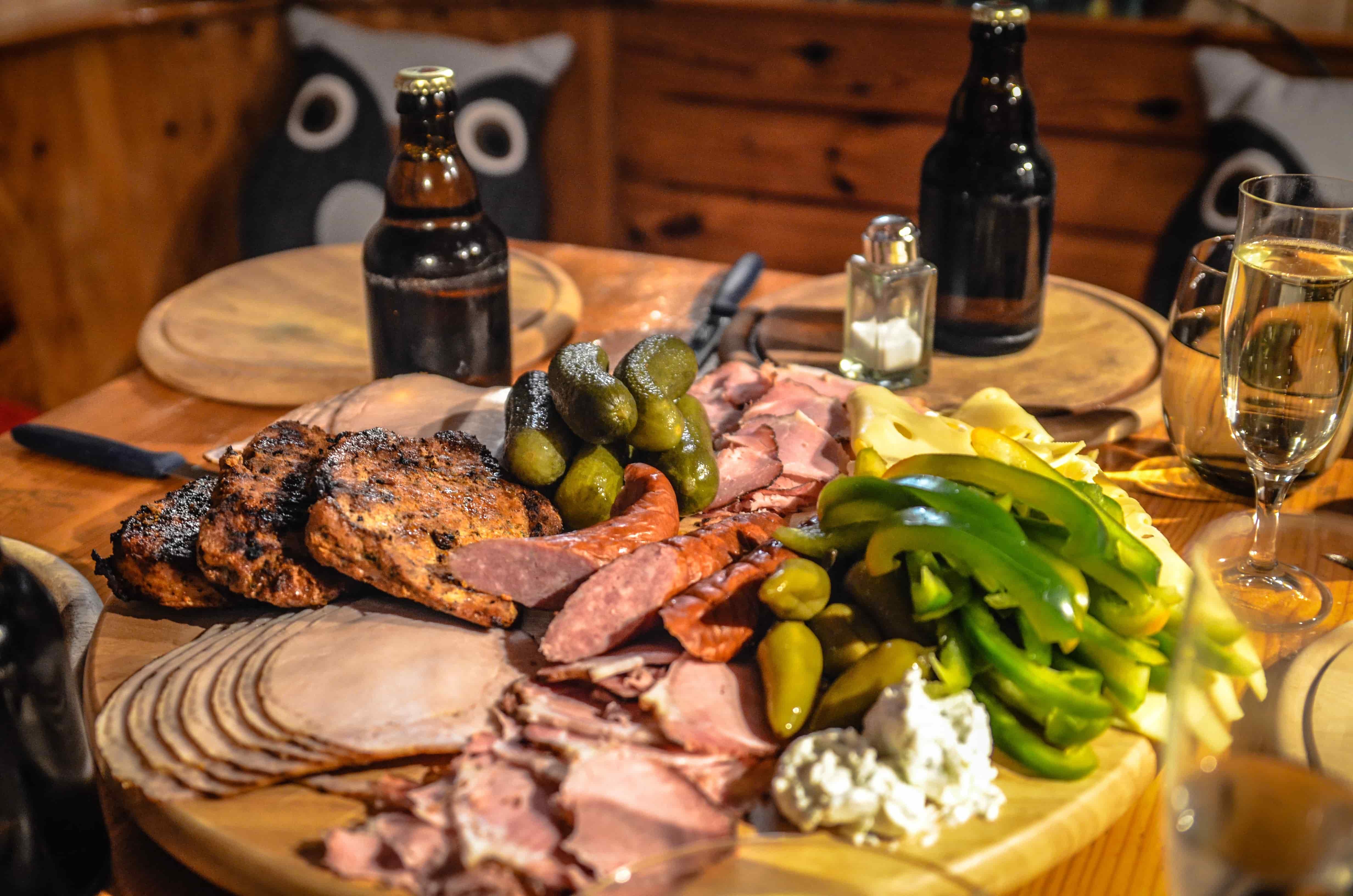 Food platter at an Alpine restaurant