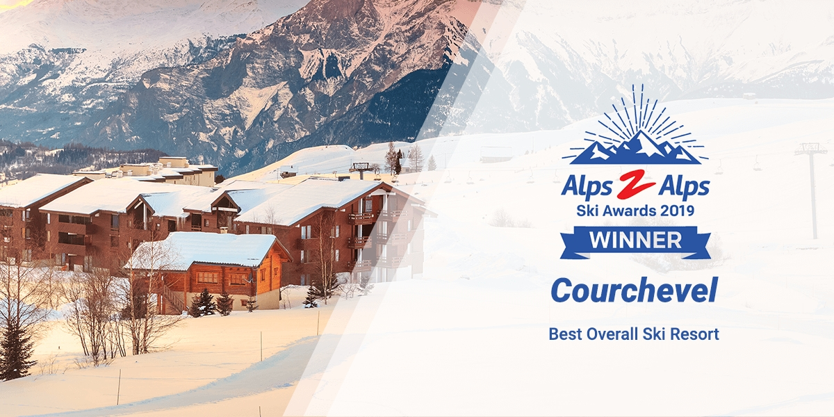 Courchevel ski chalets in the snow with text