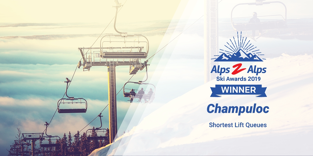 Chair lifts in the alps with text