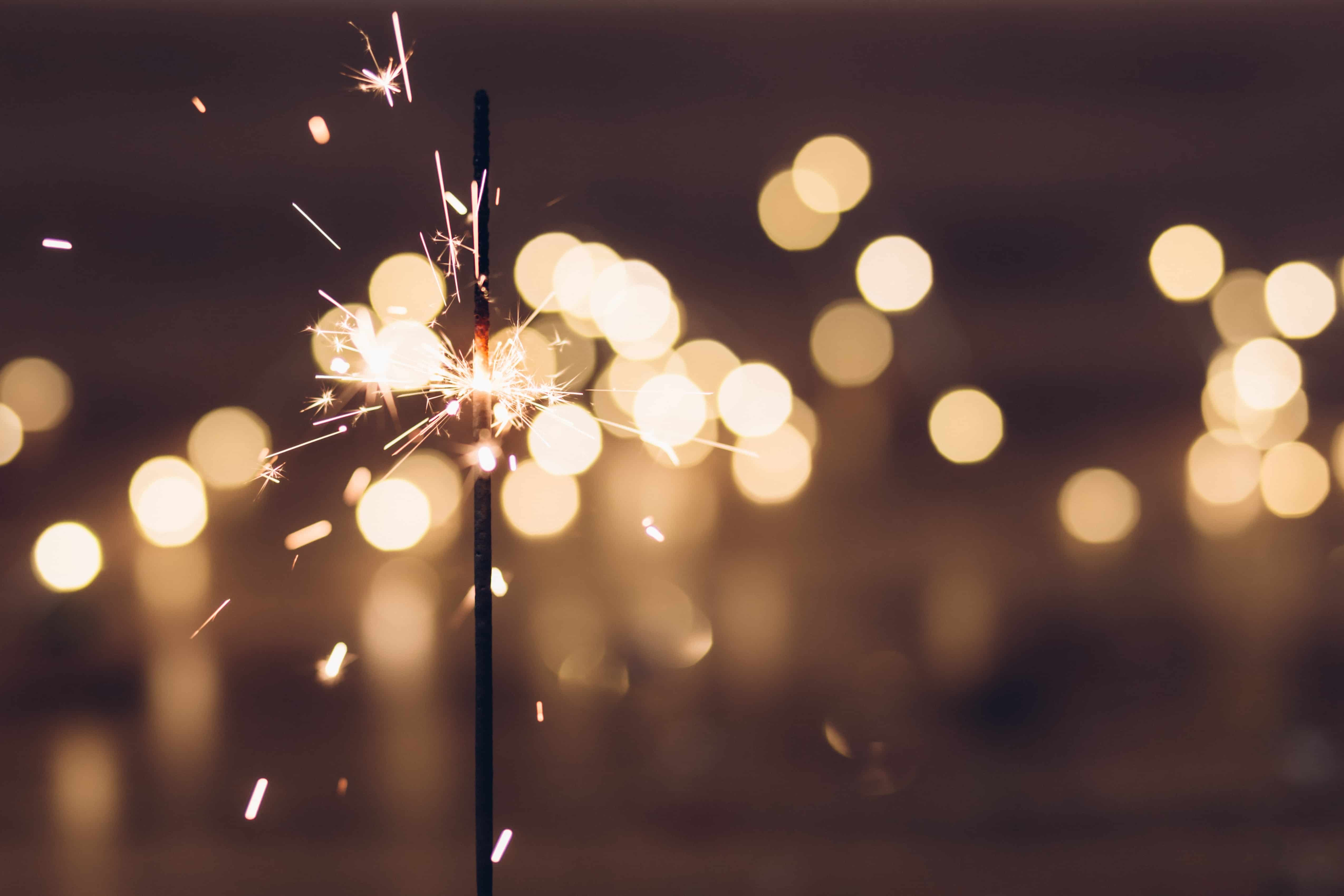 Fireworks and sparkler for new year