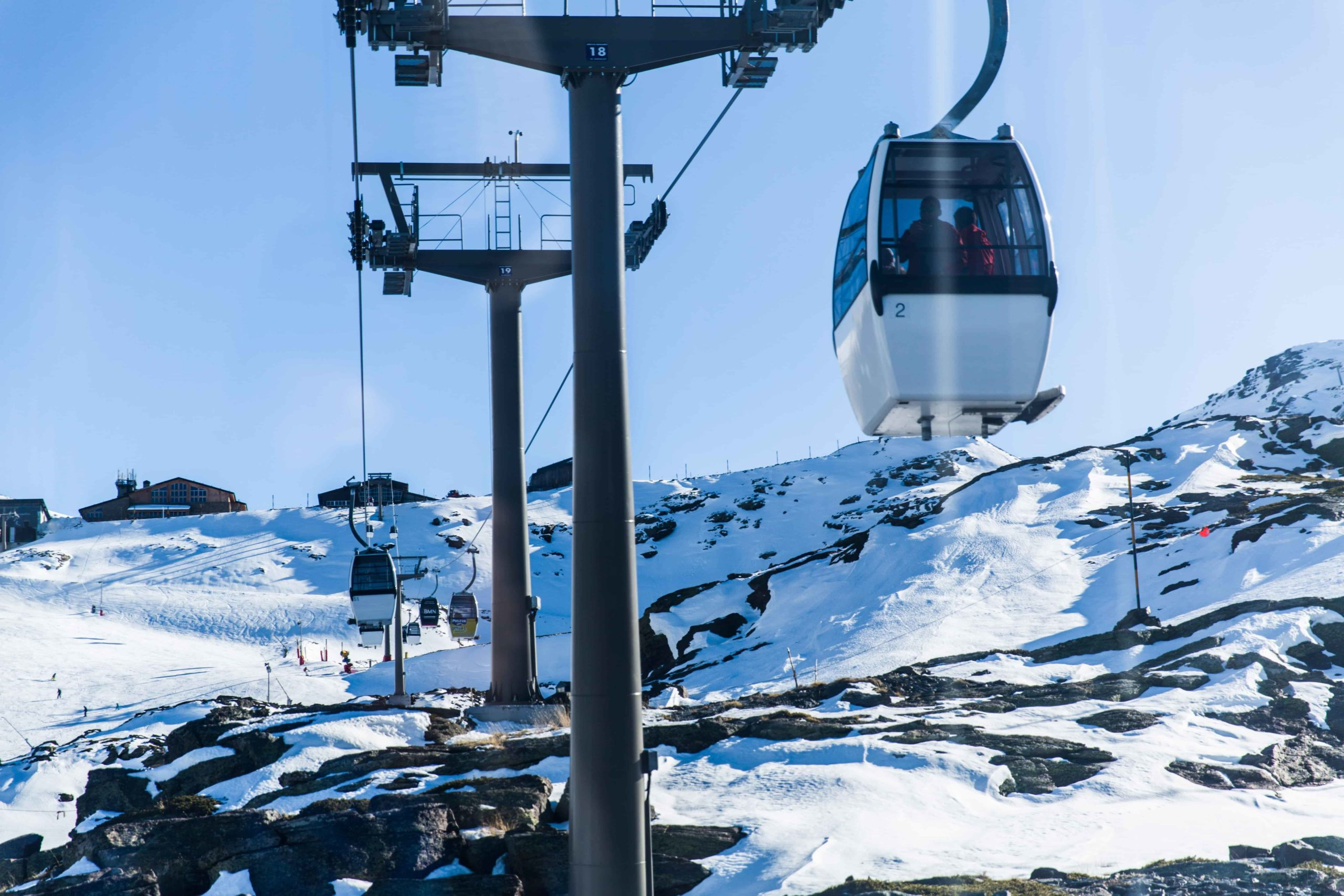 Cable cars in the snowy Alps