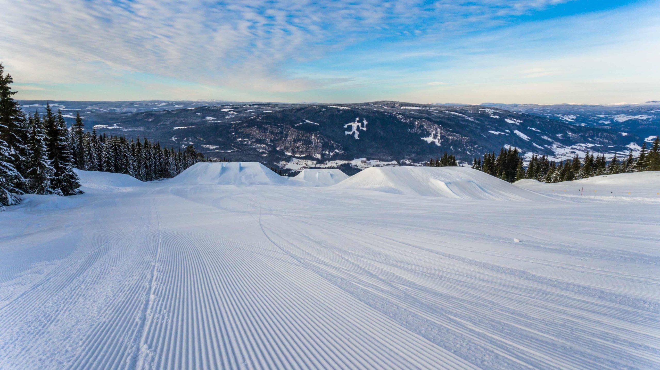 Snow slopes at a ski resort in the Alps