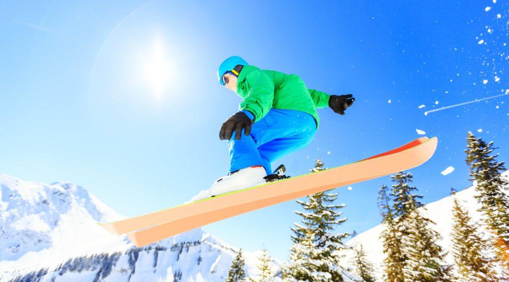 Advanced skier on blue bird day